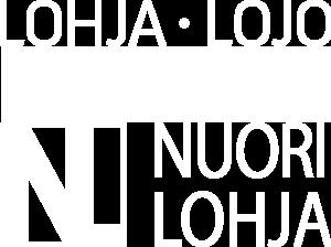 NuoriLohja- ja Lohja-logot valkoisena.